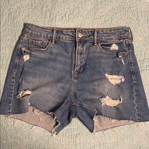 High rise distressed denim shorts